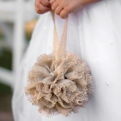 Burlap kissing ball with pearl accents and burlap handle. Use as an alternative to the flower girl basket or for decorating.