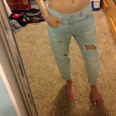 """Mossimo distressed boyfriend jeans size 27! originally purchased from Target for $32.00. only work a few times! size 27 (but fit loosely for """"boyfriend"""" look). a little cropped at the bottom- I prefer to cuff them for an even more relaxed look. perfect for summer! :) Mossimo Supply Co Jeans Boyfriend"""