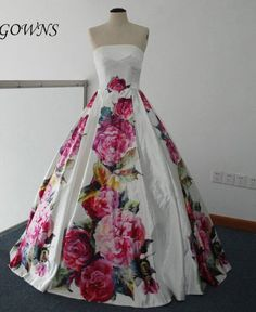 Floral ballgown Cannes Red Carpet Strapless Printed Flowers Ball Gown Real Images Celebrity Evening Dress cheap ballgown custom made floral