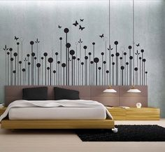 Modern Floral 2  uBer Decals Wall Decal Vinyl Decor by uBerDecals