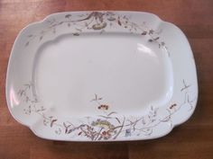 Antique 1880s Aesthetic Botanical Ironstone Platter~Alfred Meakin England