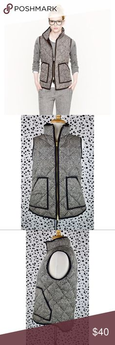 J. Crew Excursion Quilted Puffer Vest Herringbone J. Crew's light-as-air puffer vest is completely compact and easy to layer yet warm enough to keep winter's chill at bay. They've glamorized the sporty shape with a slimmer silhouette and gold hardware for a dose of downtown cool. The allover printed herringbone pattern gives it a graphic edge. Good preloved condition and ready for its new owner!   Down-filled poly. Hits at hip. Standing collar. Zip closure. Patch pockets.  If you have any…