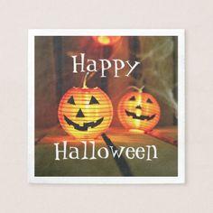 Orange Halloween Jack-O-Lanterns Paper Napkin - Halloween happyhalloween festival party holiday
