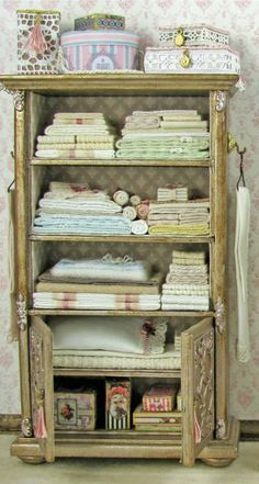 Lovely Miniature Linen Cabinet (filled); 1/12 scale.