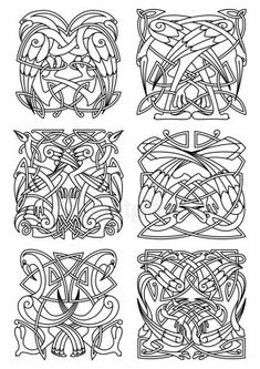 Heron stork and crane birds ornaments or patterns for celtic or irish . Celtic Patterns, Celtic Designs, Celtic Symbols, Celtic Art, Viking Pattern, Crane Tattoo, Crane Bird, Bird Ornaments, Pencil Art Drawings