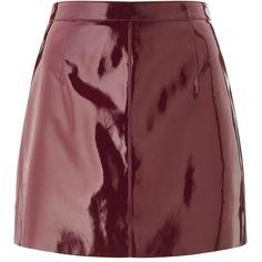 Miss Selfridge PETITE Vinyl A-Line Skirt (€16) ❤ liked on Polyvore featuring skirts, bottoms, saias, burgundy, petite, red a line skirt, vinyl skirts, miss selfridge skirts, petite red skirt and petite a line skirt