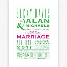 Just My Type wedding invitation