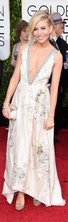 Sienna Miller in Miu Miu at the Golden Globes.
