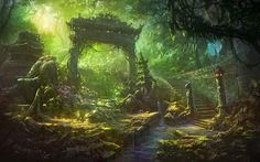 Living room home wall decoration fabric poster fantasy art Asian architecture stream Fantasy Hd, Fantasy Garden, Fantasy Forest, Fantasy Kunst, Fantasy World, Fantasy Art Landscapes, Fantasy Landscape, Forest Landscape, 1920x1200 Wallpaper