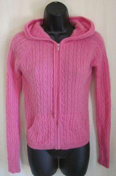 AQUA Women's 100% CASHMERE Pink Full Zip Hoodie Sweater Size XS   #Aqua #FullZip