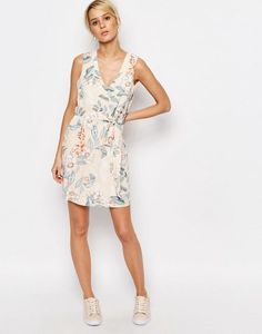 ASOS - Neon Rose Shift Dress with Cut Out Back Detail in Floral