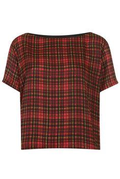 Topshop tartan red check tee t-shirt short sleeve top vintage