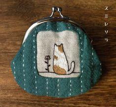 スミレソラ sashiko embroidery purse