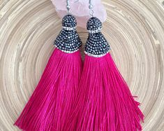 Radiant pink-fushia & green earrings, with pave strass silk tassels, gift, presents, jewelry