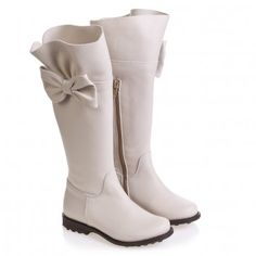 34034 Girls Ivory Leather Boots with Large Bow I Pinco Pallino