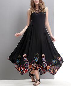 Black Garden Handkerchief Maxi Dress