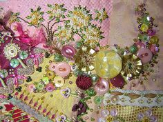 I ❤ crazy quilting . . . Detail of button-bead-sequin trail by brodanni