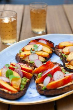 Grilled Peach Pimiento Cheese Toasts - Everyday Annie Pimiento Cheese, Cheese Toast, Peach Slices, Ripe Peach, Grilled Peaches, Just Eat It, Ripe Avocado, In Season Produce, Meals For The Week