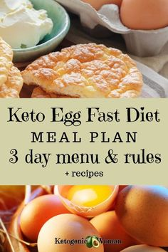Keto egg fast diet meal plan menu and rules. Lose weight fast with the egg fast diet. Keto egg fast diet meal plan menu and rules. Lose weight fast with the egg fast diet. Ketogenic Diet Meal Plan, Diet Plan Menu, Keto Meal Plan, Ketogenic Recipes, Diet Recipes, Dessert Recipes, Food Plan, Recipes Dinner, 3 Day Diet Plan