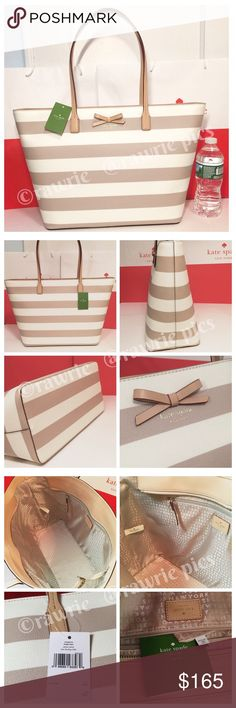 """New Kate Spade large striped tote cream beige 100% authentic. Cream beige/tan Margareta tote. Printed cross hatched canvas with matching leather trim. Zip top closure and fabric lining. Inside zip and slip pockets. Handles drop 9"""". Measures 19""""top/12.5""""bottom x 11.5"""" (H) x 6"""" (W). Brand new with tags. Comes from a pet and smoke free home. kate spade Bags Totes"""