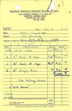 The Rolling Stones' studio receipt for recording 'Wild Horses' and 'Brown Sugar' | Muscle Shoals Sound Studios