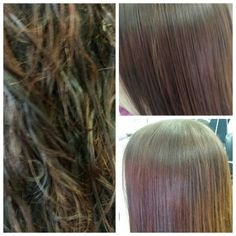 Chemical straightening - before and after