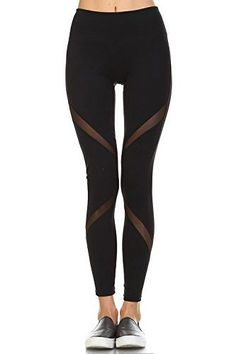 31f812c175a060 Women's Performance Activewear Leggings - Yoga Leggings with Sleek Contrast  Mesh Panels