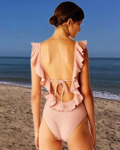 ff72df5b60 Pink Ruffle Trim V Laceup Backless Padded Crinkle One Piece Swimsuit, the  new coming swimwear