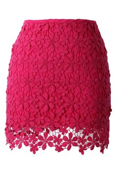 Lace Crochet Bud Skirt in Hot Pink//