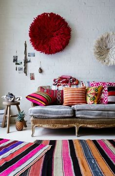 bohemian rugs boho style interior design rooms spaces living room pillows fabric
