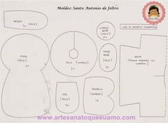 Santo Antonio de feltro com molde - # 1 Projeto por mês - Artesanato que eu amo Santos, Felt Templates, Bible Lessons, Pin Cushions, 1, Doll Patterns, Teca, Prints, Temples