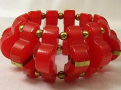 Wide Thick Geomtric Cherry Red Bakelite Bracelet
