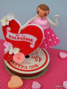 Magpie Ethel~ Vintage Style Valentine Girl - Spun Cotton with Big Be My Valentine Heart