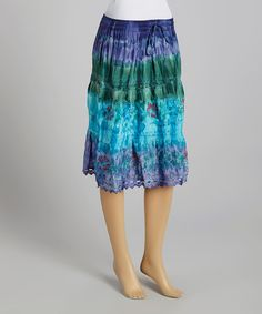 Look what I found on #zulily! Blue & Green Floral Embroidered Drawstring Skirt by The OM Company #zulilyfinds