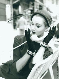 vintage fashion photography with telephone