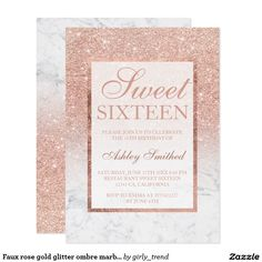 Faux rose gold glitter ombre marble chic Sweet 16 Card A modern, pretty chic and elegant faux rose gold glitter shower ombre with white marble color block Sweet 16 birthday party invitation with rose gold ombre pattern with white marble and elegant gold frame Perfect for a princess Sweet sixteen, perfect for her, the fashionista who loves modern pattern and glam
