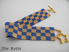 Armbänder - Blau/Gold  Armband mit schönem Sternverschluß - ein Designerstück von Die-Kette bei DaWanda