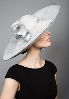 Rachel Trevor Morgan Millinery S/S 2015, R1564 Grey straw side sweep hat with lace crown and twist