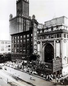 "Old Chicago Theater, ""The Emperor Waltz"" Bing Crosby and Joan Fontaine. Sign O' The Times, Bing Crosby, As Time Goes By, Chicago City, Swimming Holes, Ballrooms, Black And White Pictures, Movie Theater, Architecture"