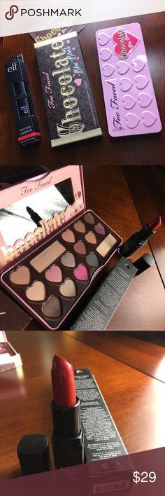 🎀NWT IN BOXES TOO FACED PALLET & ELF LIPSTICK 🎀NWT IN BOXES TOO FACED PALLET & ELF LIPSTICK NEVER USED AUTHENTIC PROFESSIONAL MAKEUP. PALLET IS IN A METAL TIN. Too Faced Makeup Eyeshadow