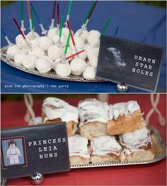 death star holes star wars food with light saber picks Star Wars Birthday, Star Wars Party, Birthday Board, Birthday Cake, Princess Leia Buns, Boy Birthday Parties, Birthday Ideas, Birthday Stuff, Star Wars Food