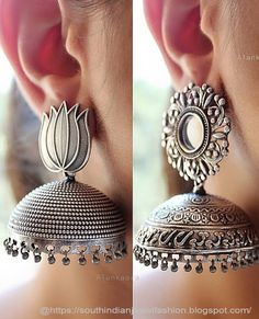 New Earrings Collections You Never Seen Before Indian Bridal Jewelry Sets, Indian Jewelry Earrings, Jewelry Design Earrings, Silver Jewellery Indian, Gold Earrings Designs, Ear Jewelry, Silver Jewelry, Buy Earrings, Silver Jhumkas