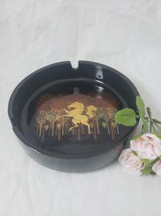 Otagiri japan ceramic gold unicorn black round ashtray | Etsy I Shop, My Etsy Shop, Japan, Ceramics, Unicorns, Gold, Beautiful, Black, Vintage