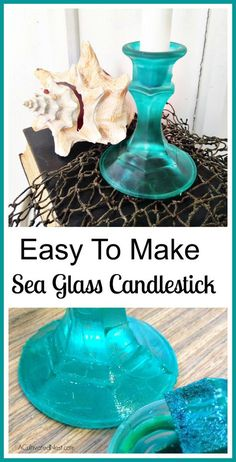 If you love a beachy look, you are going to love this super easy way to make sea glass candlesticks! This technique can be used on any glass object such as vases, mason jars, or bottles. Here's how you do it! | beach, DIY candlestick, DIY project