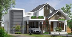 1280 square feet, 3 bedroom attached) single floor budget home design by Atelier design consultant, Palakkad, Kerala House Roof Design, House Outside Design, Flat Roof House, Village House Design, Kerala House Design, Simple House Design, Modern House Design, Free House Plans, House Design Pictures