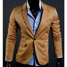 Veste Homme Fashion formal slim fit Blazer chic jacket Camel