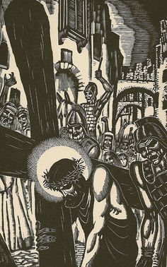 Station 3: Jesus Falls the First Time.! From a Life of Christ in Woodcuts by James Reid (1905-1985)