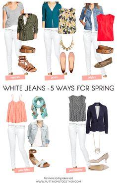 Poner mí Juntos: 5 maneras de usar los pantalones vaqueros blancos para la primavera