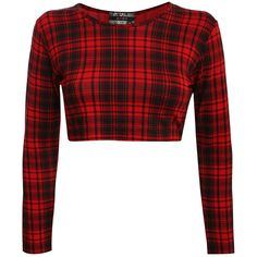 KIRSTEN LONG SLEEVE TARTAN CHECK PRINT CROP TOP IN RED ($20) ❤ liked on Polyvore featuring tops, shirts, crop top, plaid crop top, long sleeve plaid shirt, long-sleeve crop tops and long-sleeve shirt