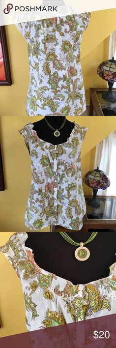 Loft cotton print blouse Yellow, green and coral print on a white cotton fabric make this an adorable summer blouse. Ruffle around the neck and eyelet embroidery make it very special indeed LOFT Tops Blouses